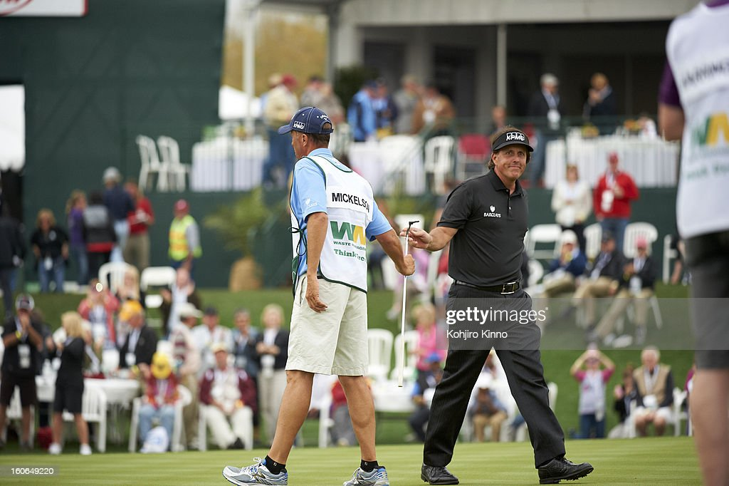 Phil Mickelson victorious on No 17 green during Sunday play at TPC Scottsdale. Kohjiro Kinno F575 )