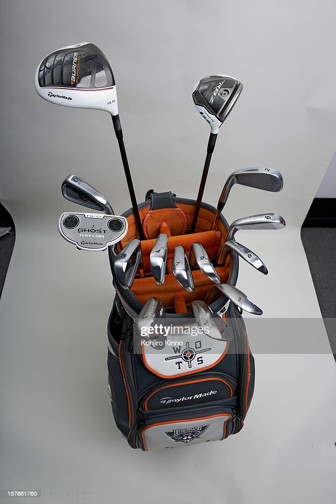 Studio shot of TaylorMade golf clubs and bag of Jason Day during Tuesday practice round at Sherwood CC. Equipment. Kohjiro Kinno F4 )