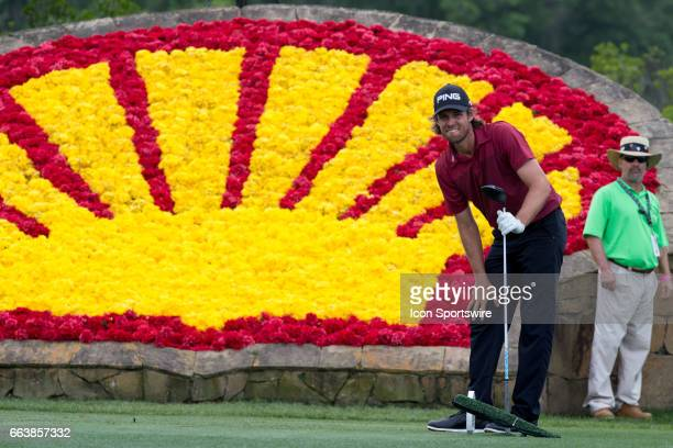 PGA golfer Aaron Baddeley looks on after his shot from the 18th tee during Shell Houston Open on April 02 2017 at Golf Club of Houston in Humble TX