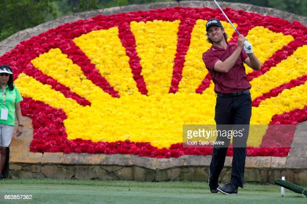 PGA golfer Aaron Baddeley plays his shot from the 18th tee during Shell Houston Open on April 02 2017 at Golf Club of Houston in Humble TX