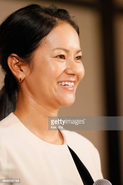 Golfer Ai Miyazato announces her retirement in a news conference on May 29 2017 in Tokyo Japan