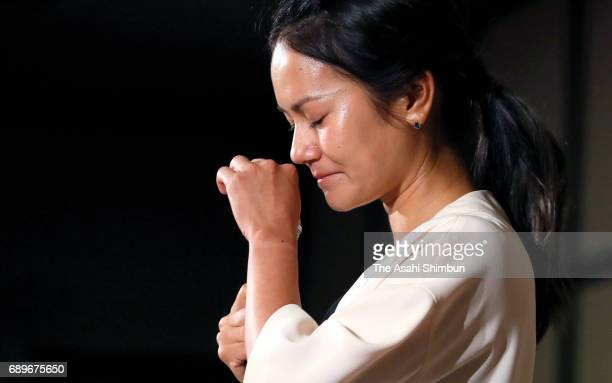 Golfer Ai Miyazato sheds tears during a press conference on May 29 2017 in Tokyo Japan Miyazato announces her retirement at the end of this season