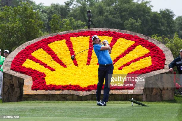 PGA golfer Andrew Loupe plays his shot from the 18th tee during Shell Houston Open on April 02 2017 at Golf Club of Houston in Humble TX