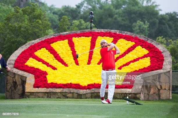 PGA golfer Andy Sullivan plays his shot from the 18th tee during Shell Houston Open on April 02 2017 at Golf Club of Houston in Humble TX