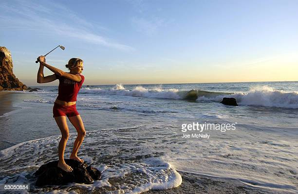 Golfer Anna Rawson a native Aussie and recent graduate of the University of Southern California enjoys a break from practicing on the Pacific coast...