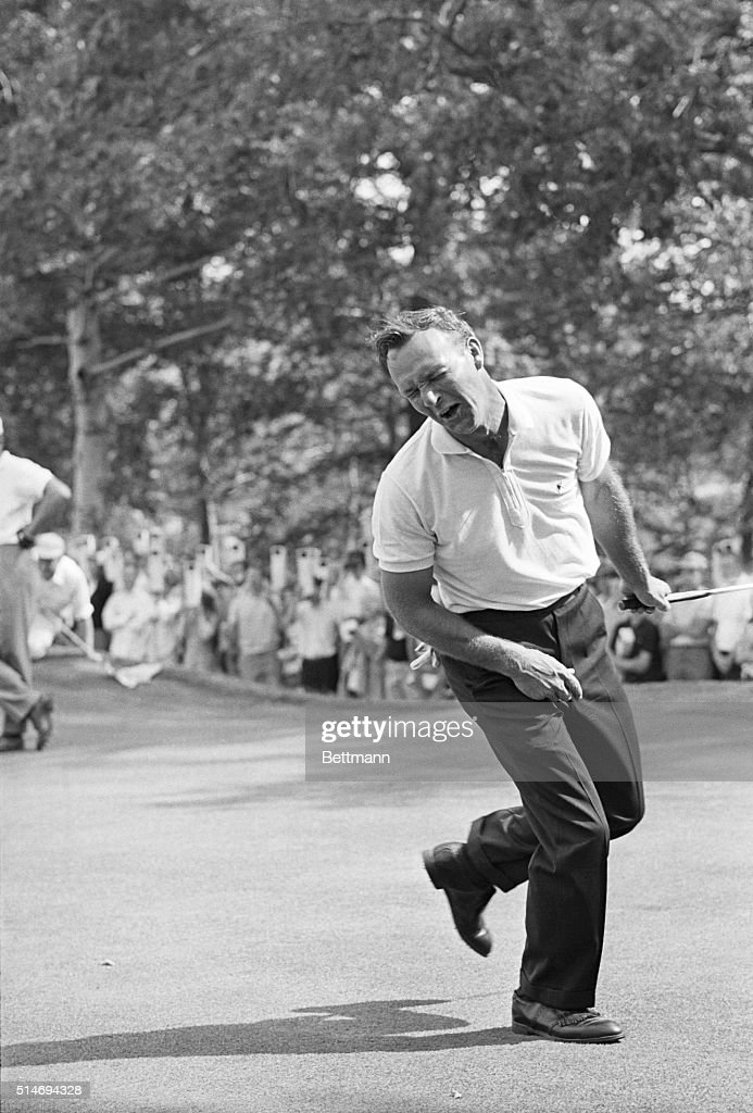 Golfer <a gi-track='captionPersonalityLinkClicked' href=/galleries/search?phrase=Arnold+Palmer&family=editorial&specificpeople=93096 ng-click='$event.stopPropagation()'>Arnold Palmer</a> shows his displeasure with missing a putt on the 8th hole at the U.S. Open golf tournament in Brookline, Massachusetts. June 23, 1963.