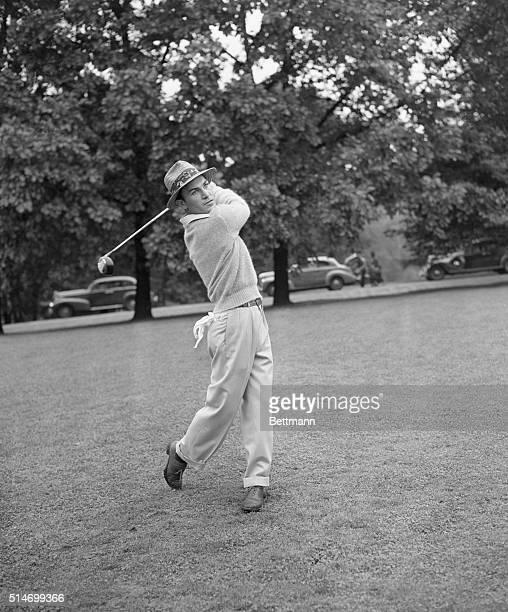 Golfer Ben Hogan prepares for the PGA Tournament