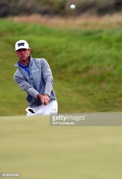 US golfer Billy Horschel chips onto the 9th green during his opening round 76 on the first day of the Open Golf Championship at Royal Birkdale golf...