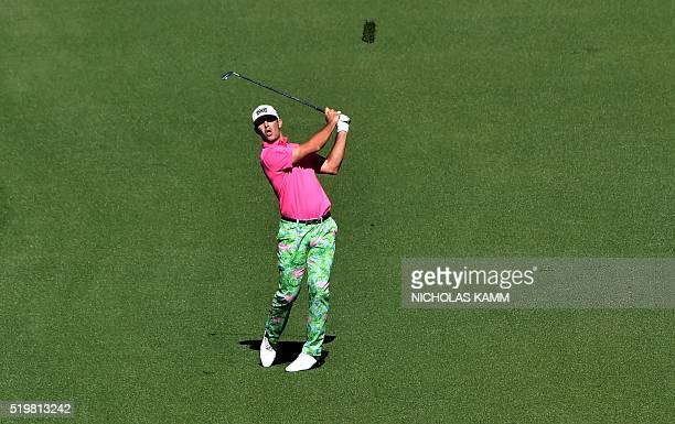 TOPSHOT US golfer Billy Horschel plays a shot during Round 2 of the 80th Masters Golf Tournament at the Augusta National Golf Club on April 8 in...