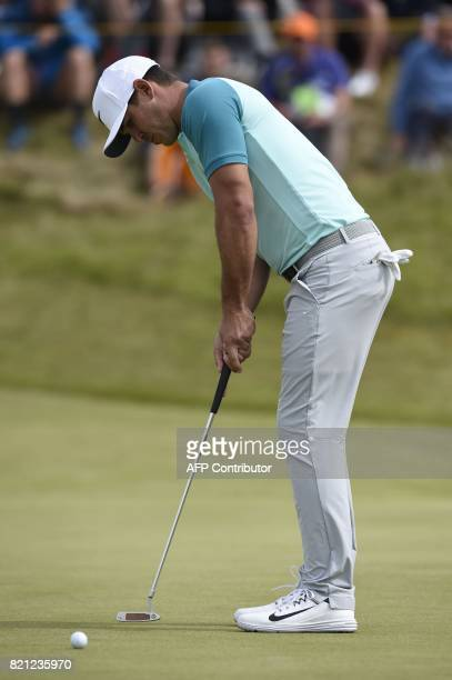 US golfer Brooks Koepka putts on the 7th green during his final round on day four of the 2017 Open Golf Championship at Royal Birkdale golf course...