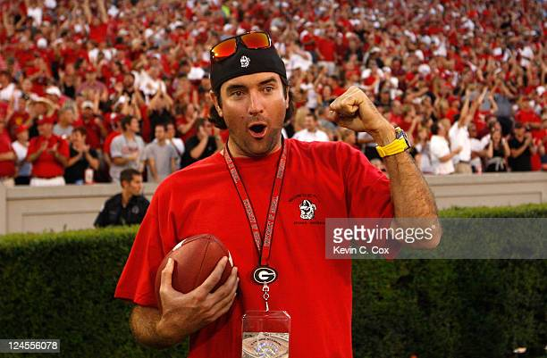 PGA golfer Bubba Watson celebrates after a punt return by the Georgia Bulldogs during the game against the South Carolina Gamecocks at Sanford...