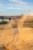 Golfer Chipping from Sand Trap