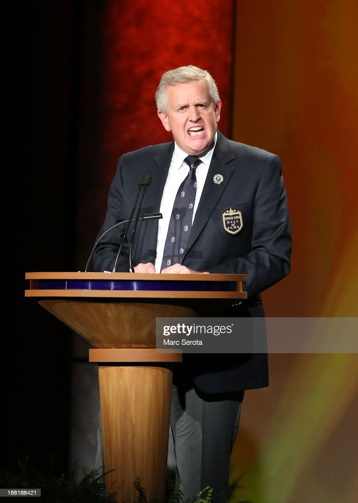 Golfer Colin Montgomerie speaks during his induction into the World Golf Hall of Fame on May 6, 2013 at the World Golf Village in St Augustine, Florida.