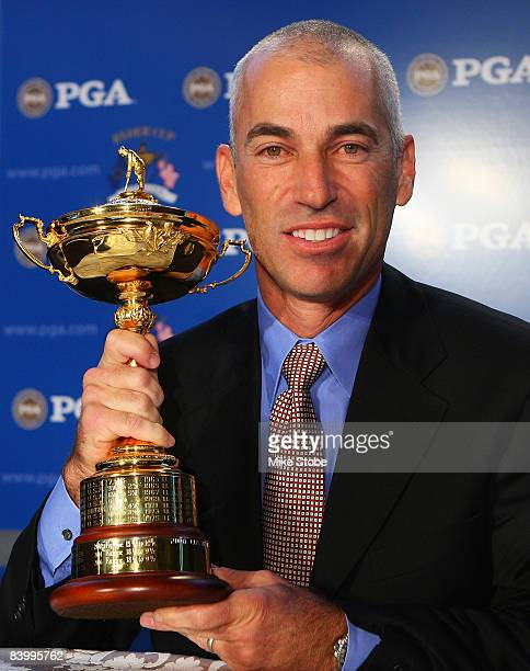PGA golfer Corey Pavin poses with the Ryder Cup trophy after being selected as the captain of the United States Ryder Cup team in 2010 on December 11...