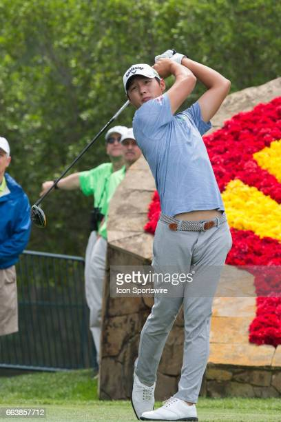 PGA golfer Danny Lee plays his shot from the 18th tee during Shell Houston Open on April 02 2017 at Golf Club of Houston in Humble TX