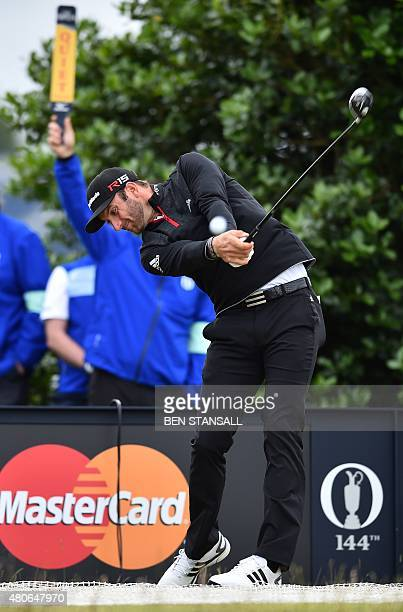 US golfer Dustin Johnson plays from the 3rd tee during a practice round on The Old Course at St Andrews in Scotland on July 14 ahead of The 2015 Open...