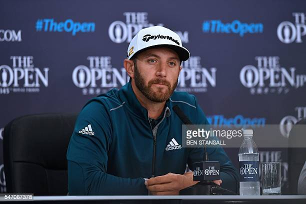 US golfer Dustin Johnson speaks to members of the media at a press conference on July 13 ahead of the 2016 British Open Golf Championship at Royal...
