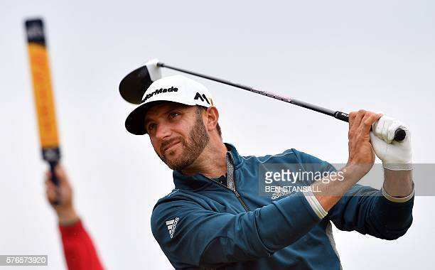 US golfer Dustin Johnson watches his drive from the 6th tee during his third round on day three of the 2016 British Open Golf Championship at Royal...
