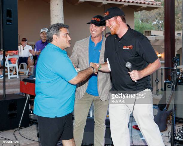 A golfer Dustin Tillman and Phil Dixon on stage at the Swing Fore The Vets Charity Golf Tournament on October 19 2017 in Rancho Santa Margarita...