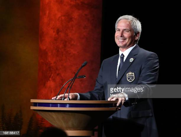 Golfer Fred Couples speaks during his induction into the World Golf Hall of Fame on May 6 2013 at the World Golf Village in St Augustine Florida