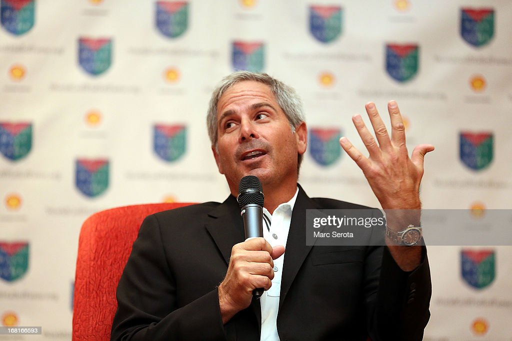 Golfer Fred Couples speaks with the media at a press conference prior to being inducted into the World Golf Hall of Fame on May 6, 2013 at the World Golf Village in St Augustine, Florida.