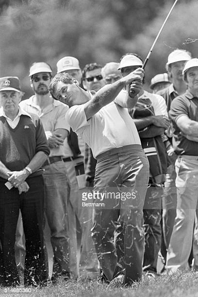 Golfer Fuzzy Zoeller swings at the ball in the first round of the Manufacturers HanoverWestchester Classic in Harrison New York June 7 1985