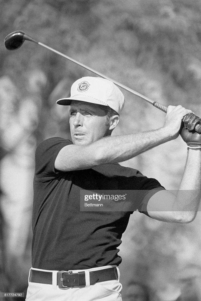 Golfer Gary Player swings his club during the 1972 PGA Championship at Oakland Hills Birmingham Michigan | Location Oakland Hills Birmingham Michigan...