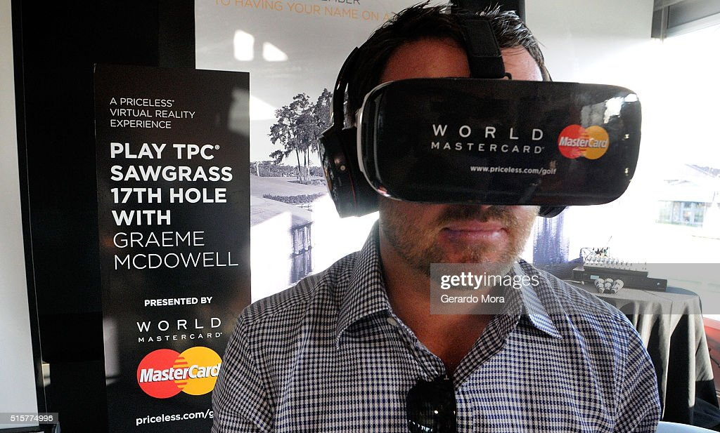 TOUR golfer, <a gi-track='captionPersonalityLinkClicked' href=/galleries/search?phrase=Graeme+McDowell+-+Golfer&family=editorial&specificpeople=196520 ng-click='$event.stopPropagation()'>Graeme McDowell</a> demonstrates MasterCard's latest payment enabled solutions, including virtual reality at the Arnold Palmer Invitational Presented by MasterCard on March 15, 2016 at Bay Hill in Orlando, Florida.