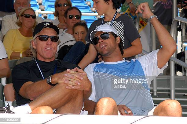 Golfer Greg Norman and tennis star Mark Philippoussis attend the Chris Evert/Raymond James ProCelebrity Tennis Classic at the Delray Beach Tennis...