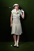 Golfer Holding Club Wearing Vintage Clothes