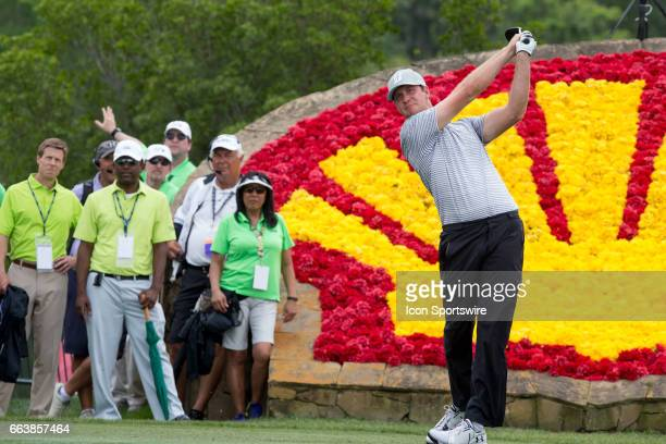 PGA golfer Hudson Swafford plays his shot from the 18th tee during Shell Houston Open on April 02 2017 at Golf Club of Houston in Humble TX