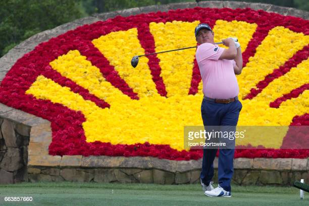 PGA golfer Jason Dufner plays his shot from the 18th tee during Shell Houston Open on April 02 2017 at Golf Club of Houston in Humble TX