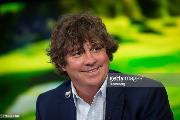 Golfer Jason Dufner smiles during a Bloomberg Television interview in New York US on Tuesday Aug 13 2013 Dufner who overcame a oneshot deficit to...