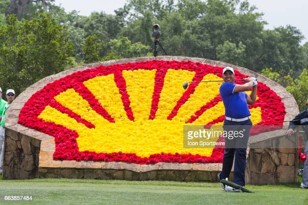 PGA golfer Jhonattan Vegas plays his shot from the 18th tee during Shell Houston Open on April 02 2017 at Golf Club of Houston in Humble TX