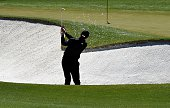 US golfer Jimmy Walker plays a shot out of a bunker during Round 2 of the 80th Masters Golf Tournament at the Augusta National Golf Club on April 8...
