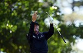 US golfer Jimmy Walker reacts after teeing off during Round 2 of the 80th Masters Golf Tournament at the Augusta National Golf Club on April 8 in...