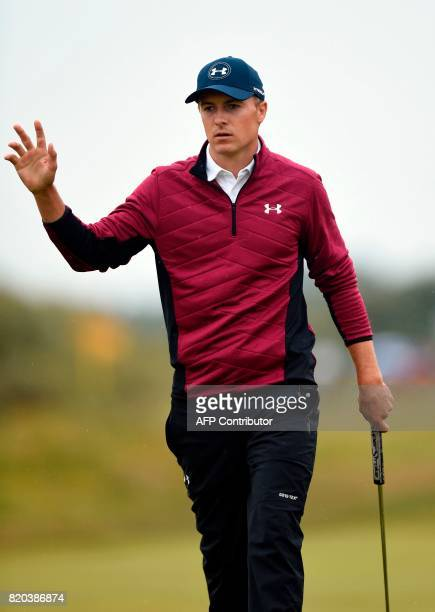 US golfer Jordan Spieth celebrates making an eagle on the 15th hole during his second round on day two of the Open Golf Championship at Royal...