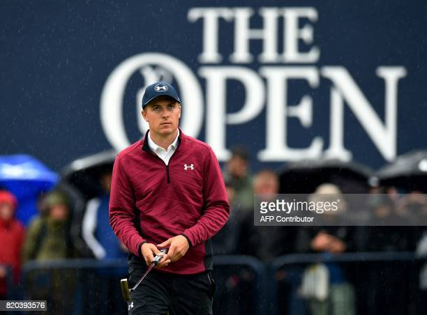 US golfer Jordan Spieth on the 18th green during his second round on day two of the Open Golf Championship at Royal Birkdale golf course near...