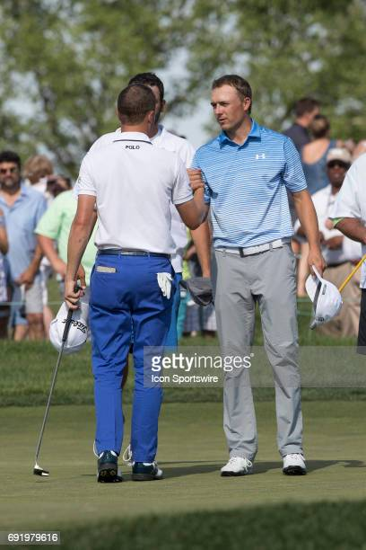 PGA golfer Jordan Spieth shaking hands with Justin Thomas following their round at the Memorial Tournament Third Round on June 3 2017 at Muirfield...