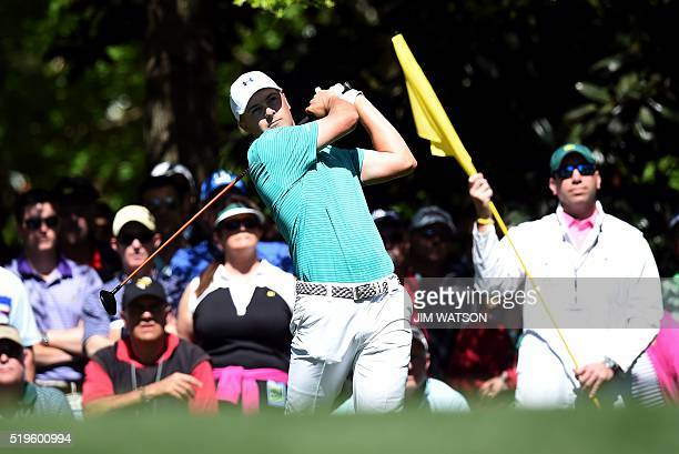 US golfer Jordan Spieth tees off during Round 1 of the 80th Masters Golf Tournament at the Augusta National Golf Club on April 7 in Augusta Georgia /...