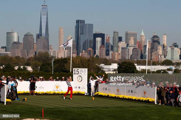 USA golfer Jordan Spieth tees off on the 15th hole during the final round of the Presidents Cup at Liberty National Golf Club on September 30 2017 in...
