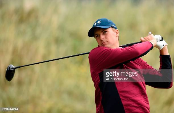 US golfer Jordan Spieth watches his drive from the 6th tee during his second round on day two of the Open Golf Championship at Royal Birkdale golf...