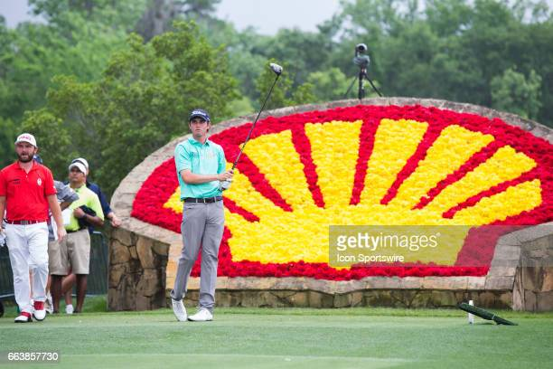 PGA golfer JT Poston looks on after his shot from the 18th tee during Shell Houston Open on April 02 2017 at Golf Club of Houston in Humble TX