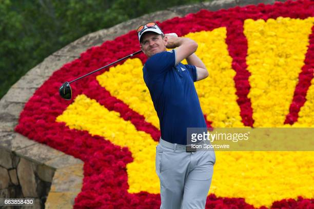 PGA golfer Justin Rose plays his shot from the 18th tee during Shell Houston Open on April 02 2017 at Golf Club of Houston in Humble TX