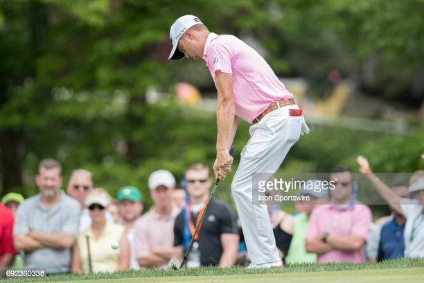 PGA golfer Justin Thomas chips the ball onto the green during the Memorial Tournament Final Round on June 4 2017 at Muirfield Village Golf Club in...