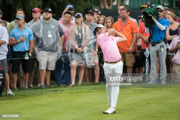 PGA golfer Justin Thomas drives the ball on the 15th hole in the rain during the Memorial Tournament Final Round on June 4 2017 at Muirfield Village...