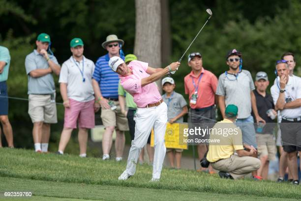 PGA golfer Justin Thomas hits his second shot on the 9th hole during the Memorial Tournament Final Round on June 4 2017 at Muirfield Village Golf...