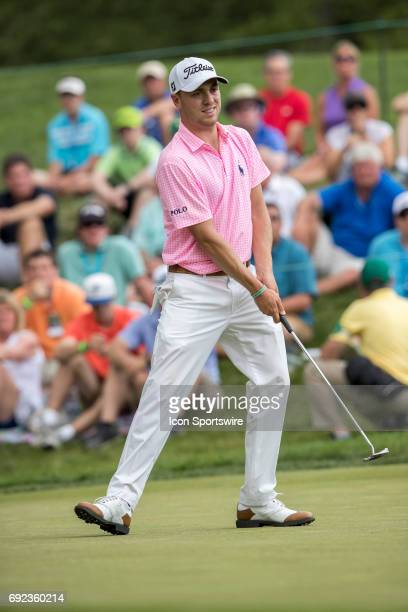 PGA golfer Justin Thomas reacts to his missed putt on the 9th hole during the Memorial Tournament Final Round on June 4 2017 at Muirfield Village...