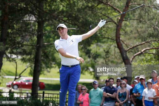 PGA golfer Justin Thomas signals his ball went left after teeing off on the 2nd hole during the Memorial Tournament Third Round on June 03 2017 at...