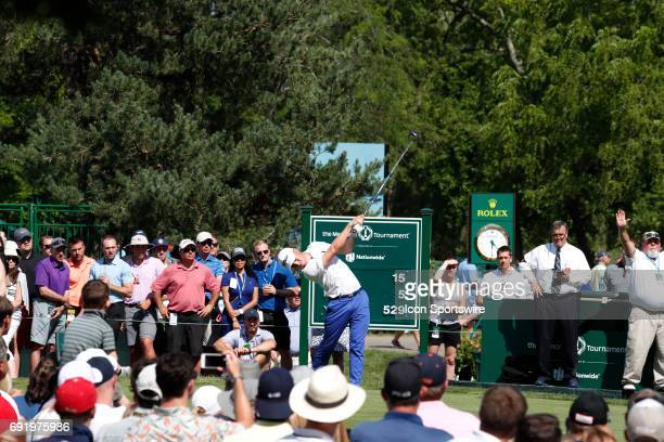 PGA golfer Justin Thomas tees off on the 15th hole during the Memorial Tournament Third Round on June 03 2017 at Muirfield Village Golf Club in...